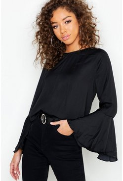 Womens Black Satin Flare Sleeve Tie Back Blouse