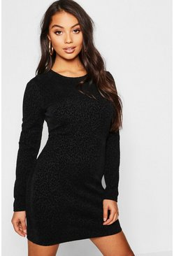 Womens Black Petite Flocked Leopard Mini Dress