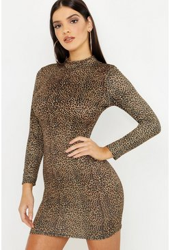 Womens Ivory Leopard Print Bodycon Mini Dress