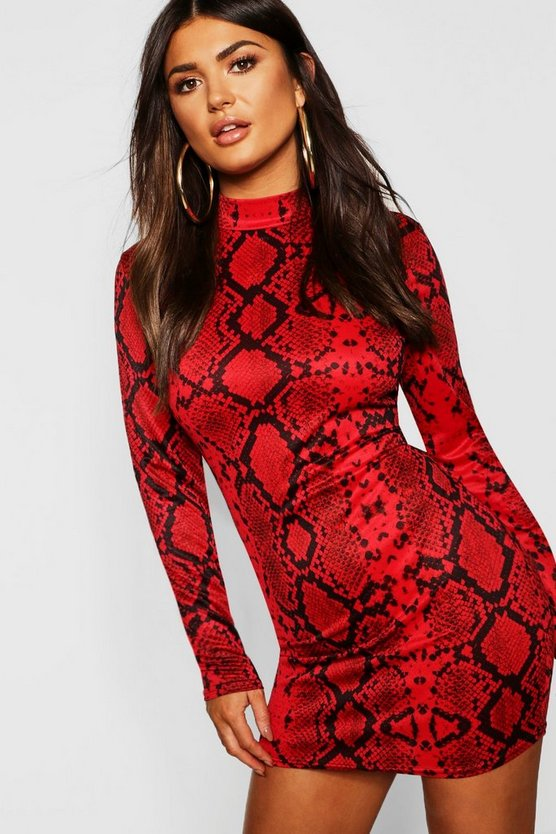 Womens Red Snake Bodycon Mini Dress