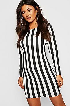 Wide Stripe Bodycon Dress
