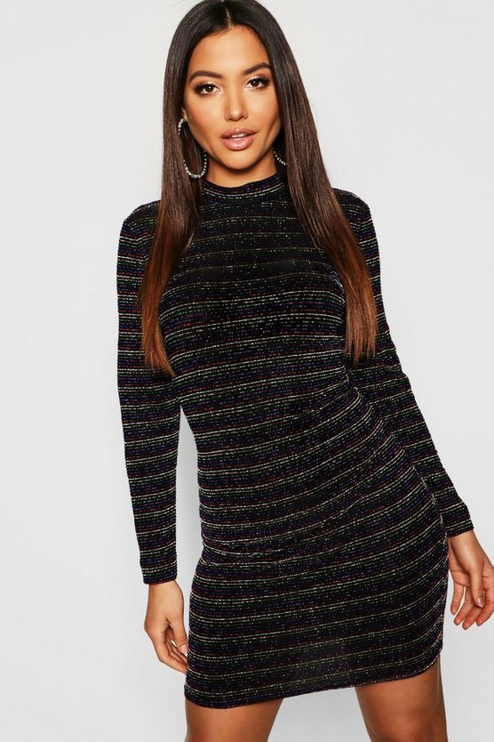 Womens Black Metallic Rainbow Stripe Bodycon Mini Dress
