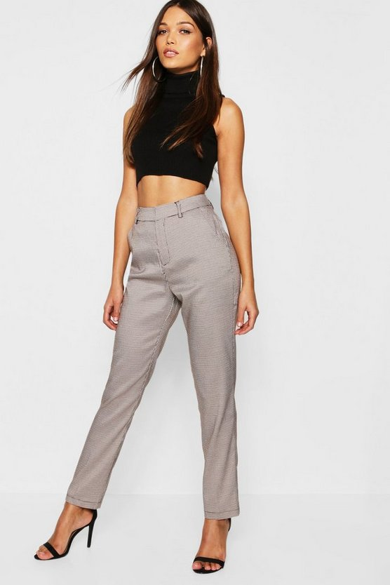 Womens Brown Checked Tailored Trousers