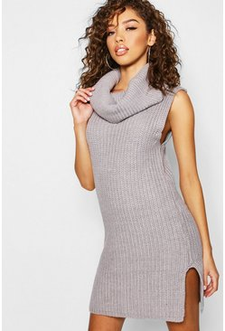 Womens Silver Roll Neck Chunky Knitted Dress