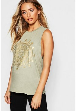 Canottiera con stampa metallizzata Boho, Dusty green, Femmina