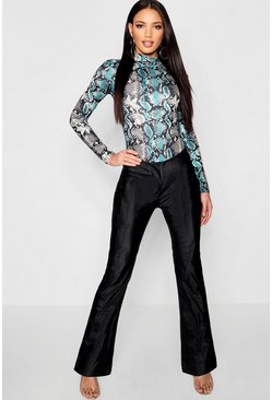Womens Black Matte Pu Snake Kick Flare Leather Look Pants