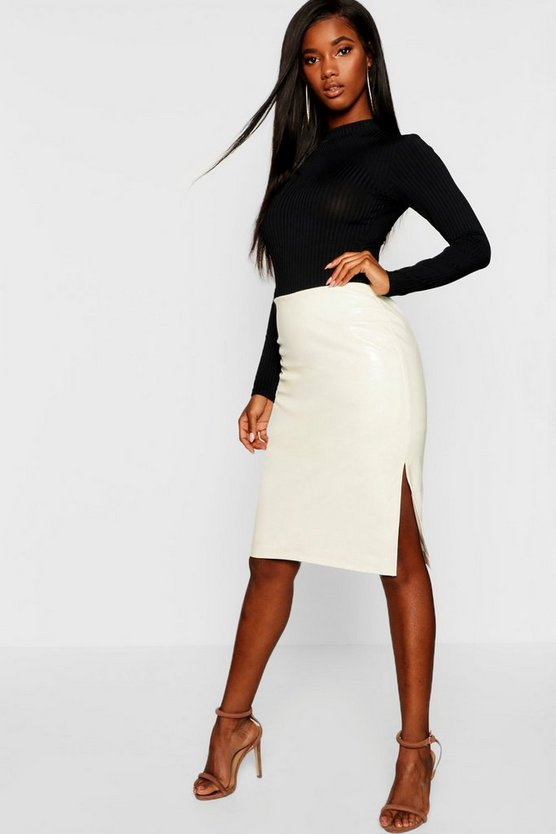 Womens Ecru PU Snake Effect Leather Look Midi Skirt