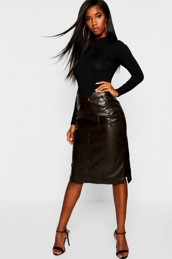 PU Leather Look Tie Belt Midi Skirt