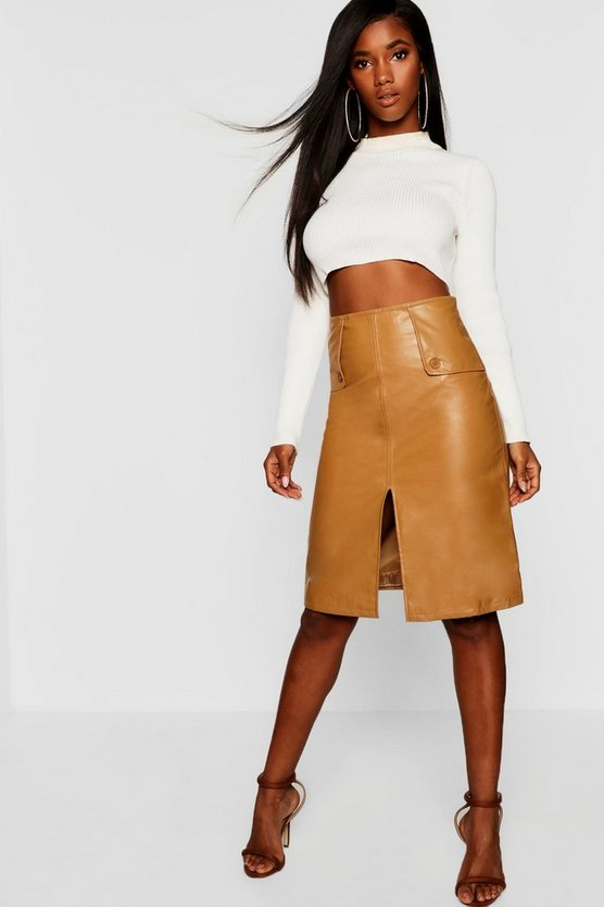PU Leather Look Midi Skirt