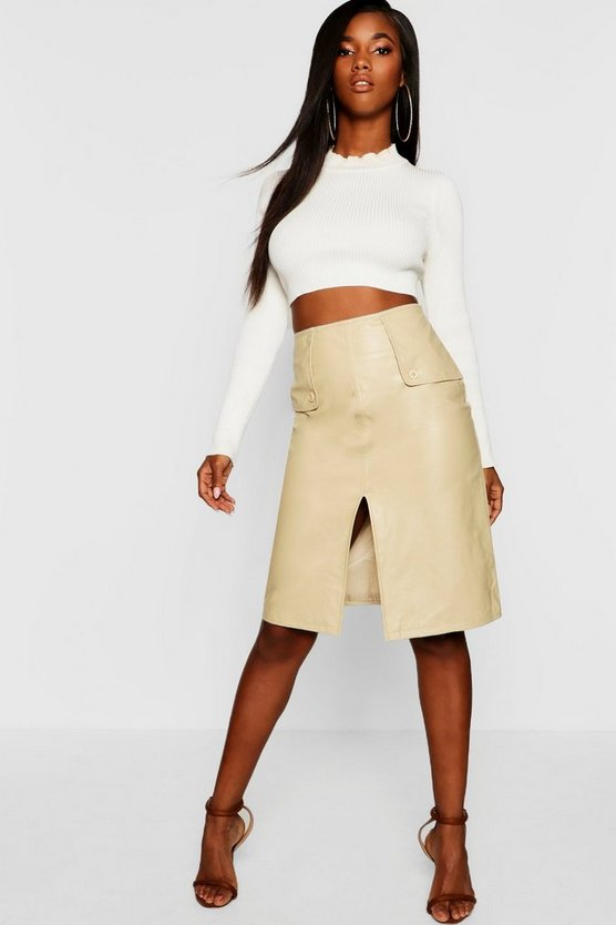 Womens Tan PU Leather Look Midi Skirt