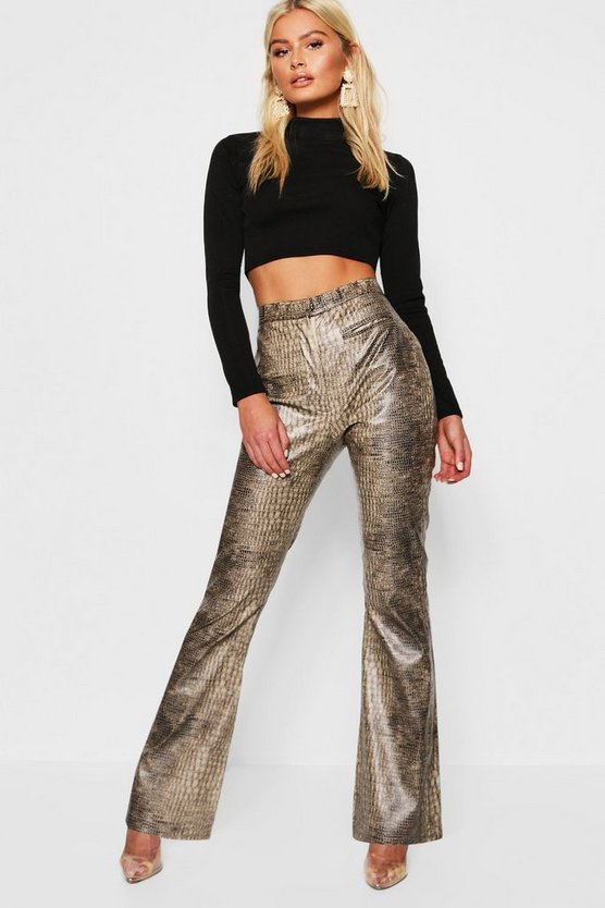 Brown PU Snake Print Flared Leather Look Trousers