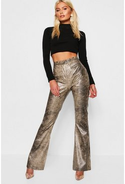 Womens Brown PU Snake Print Flared Leather Look Trousers