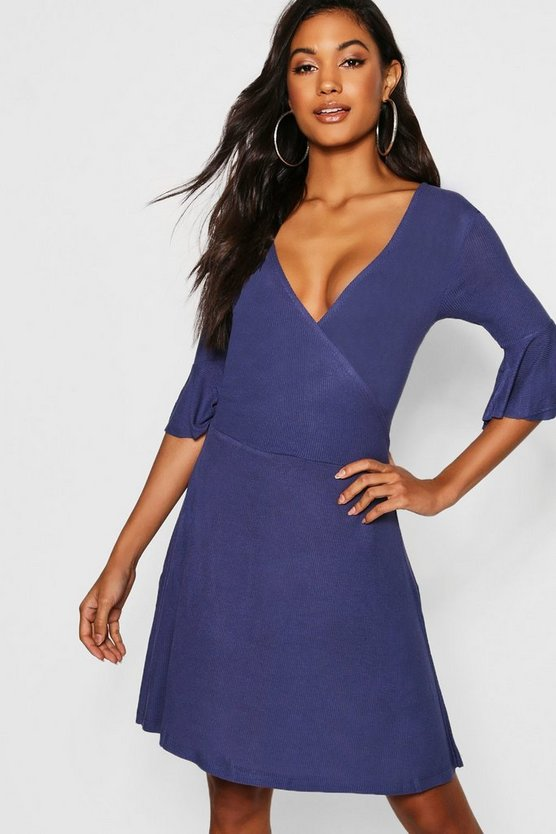 Flared Sleeve Wrap Tea Dress, Indigo, Женские