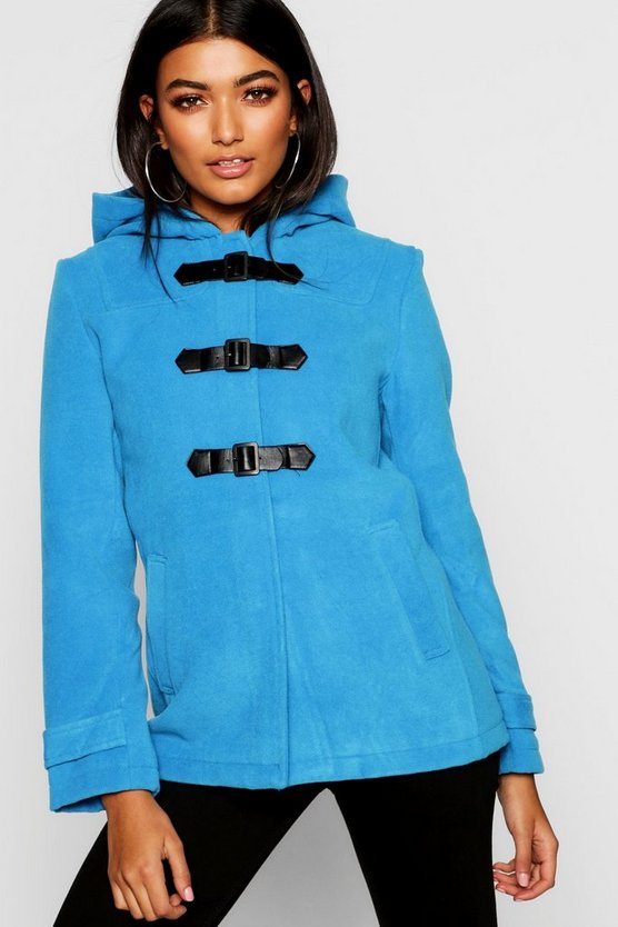 Powder blue Buckle Front Duffle Coat