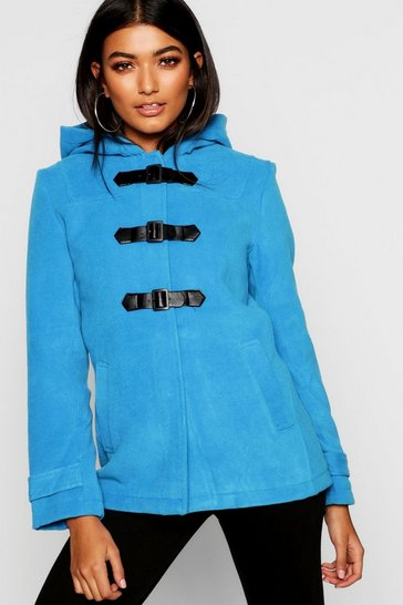 Womens Powder blue Buckle Front Duffle Coat