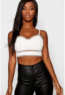 Womens White Lace Strappy Bralet