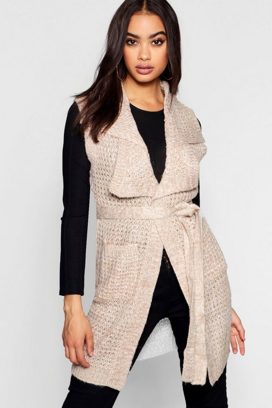 Sleeveless Knitted Wrap Cardigan