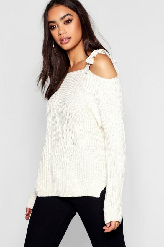 Womens Cream Cold Shoulder Knitted Jumper
