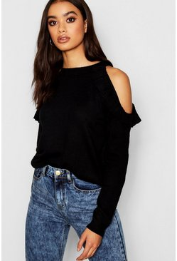 Cold Shoulder Ruffle Detail Jumper, Black, Женские