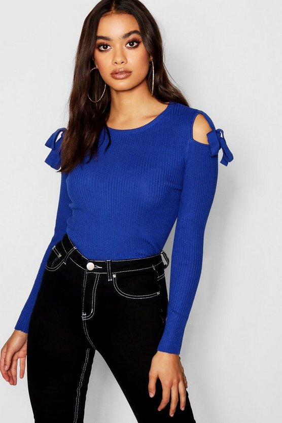 Womens Cobalt Cold Shoulder Tie Detail Knitted Top