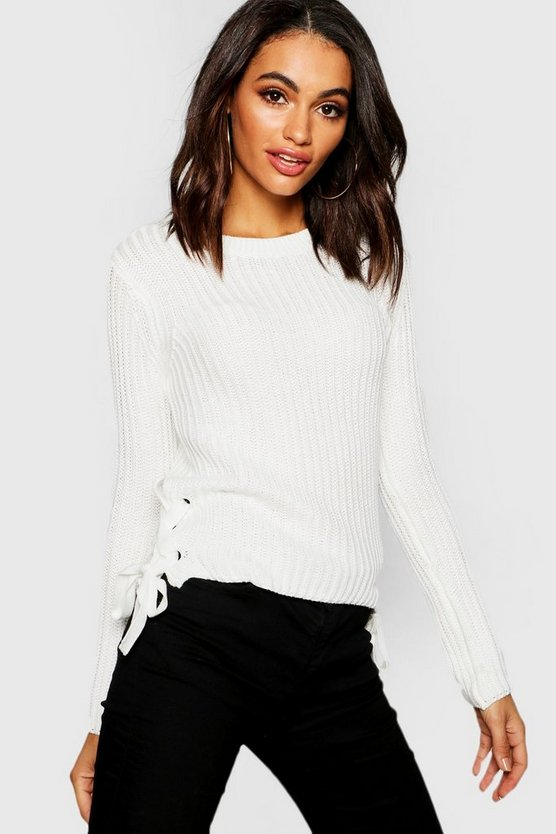 Womens Ecru Knitted Lace Up Side Jumper