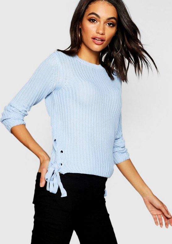 Womens Sky Knitted Lace Up Side Jumper
