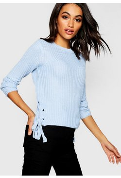 Knitted Lace Up Side Jumper, Sky, Женские