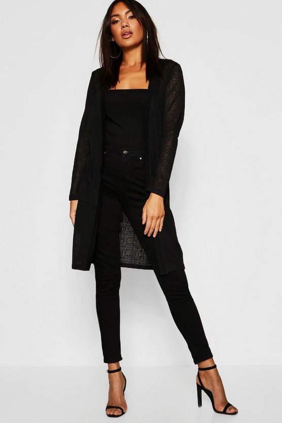 Black Burnout Knit Pocket Cardigan