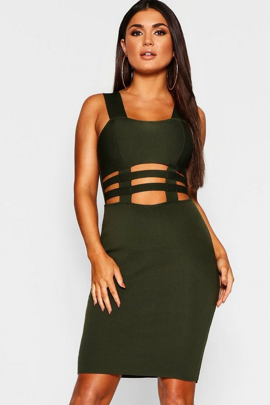 Womens Green Square Cage Waist Midi Dress