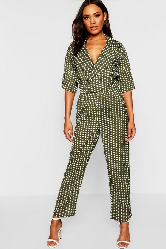 Polka Dot Collared Jumpsuit