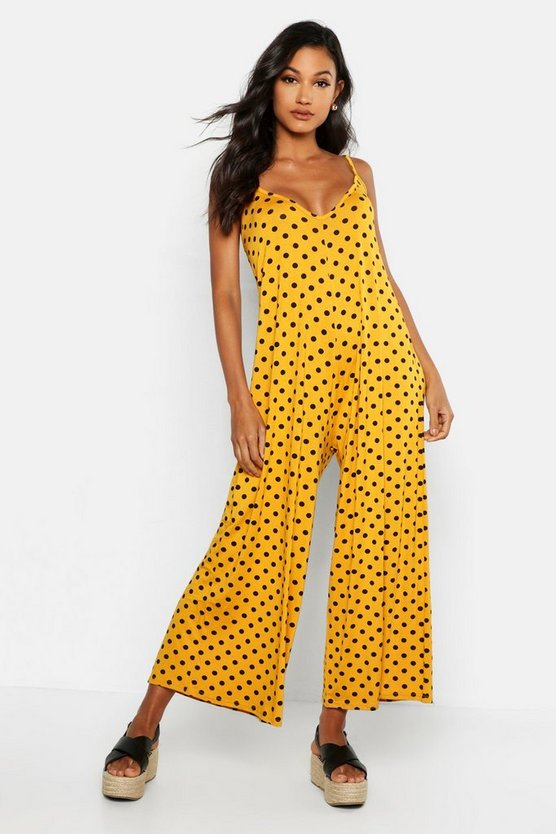 Polka Dot Swing Jumpsuit, Mustard, ЖЕНСКОЕ