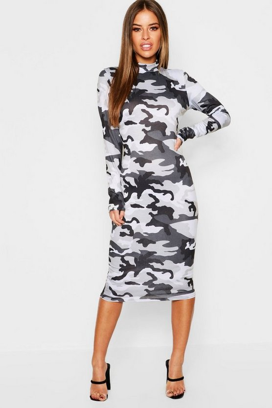 Womens Grey Petite High Neck Long Sleeve Camo Mini Dress