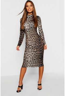 Womens Brown Petite High Neck Long Sleeve Leopard Midi Dress