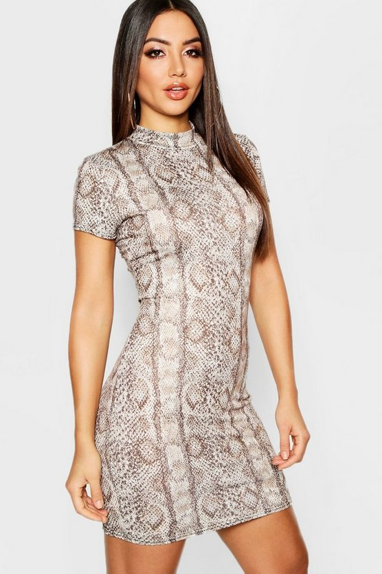 Womens Rust High Neck Cap Sleeve Snake Mini Dress