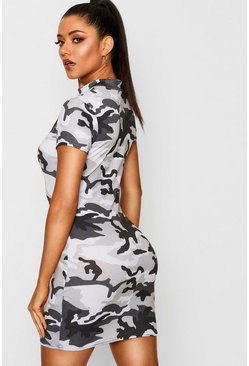Womens Grey High Neck Cap Sleeve Camo Mini Dress