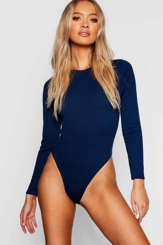 Womens Navy Ribbed High Neck Bodysuit