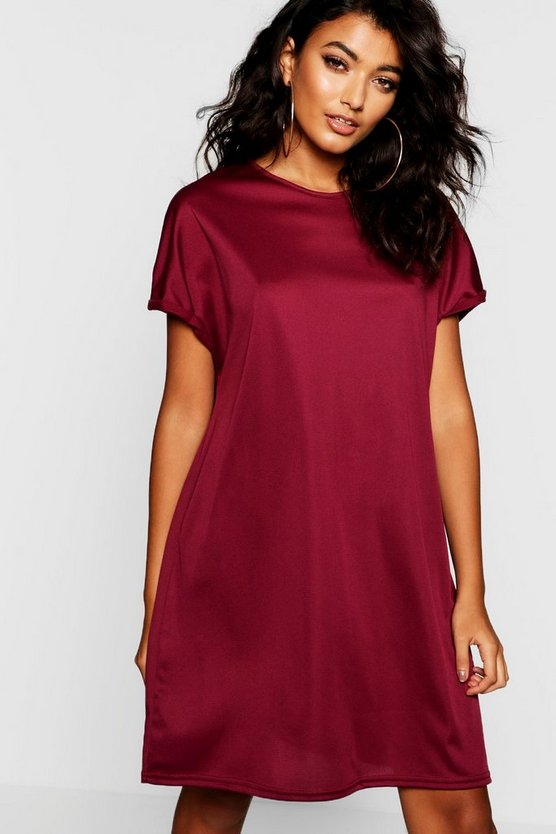 Womens Wine Oversized T-Shirt Dress