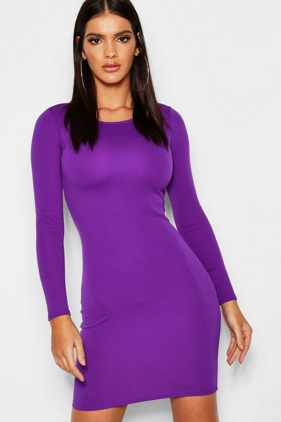 Womens Purple Long Sleeved Bodycon Dress