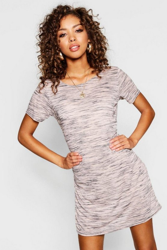 Marl Rib T-Shirt Dress, Blush, DAMEN