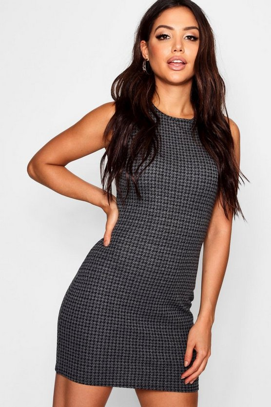 Womens Charcoal Dogtooth Check Mini Dress