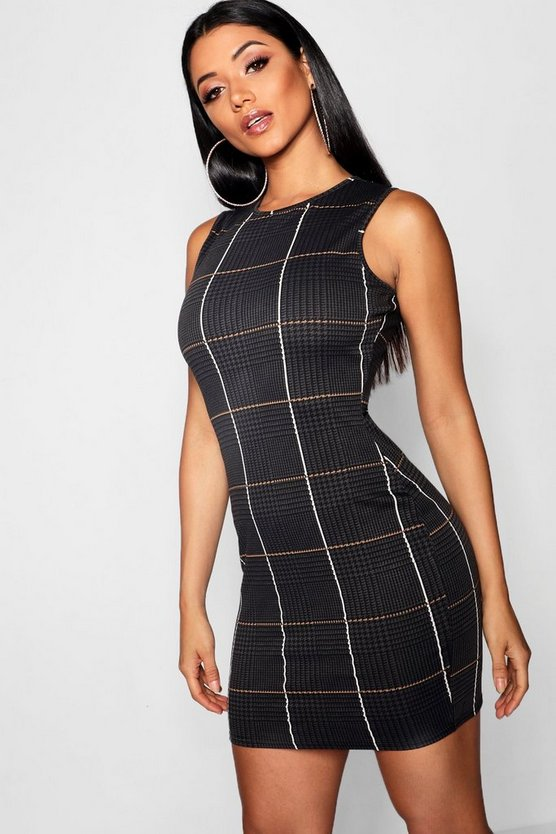 Womens Grey Check Mini Dress