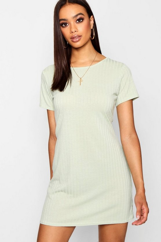 RIB KNIT T SHIRT DRESS