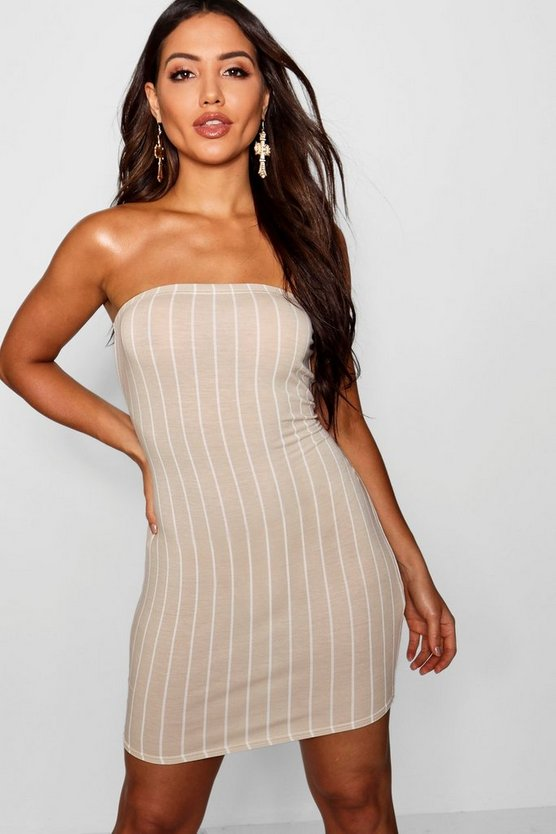 Womens Stone Stripe bandeau Mini Dress