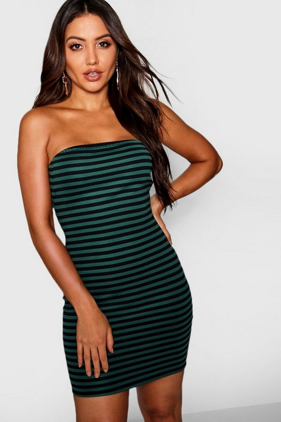 Horizontal Stripe Bandeau Mini Dress