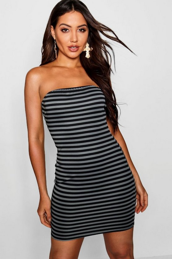 Womens Grey Horizontal Stripe Bandeau Mini Dress