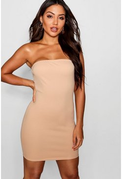 Womens Stone Bandeau Mini Dress