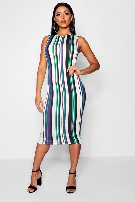 Womens Green Stripe Midi Dress