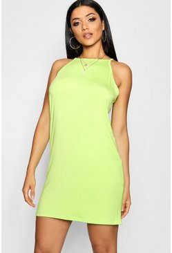 Womens Lime High Neck Plain Shift Dress