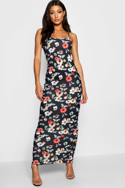 068a4070c4 Vestido maxi de tirantes con mariposa floral