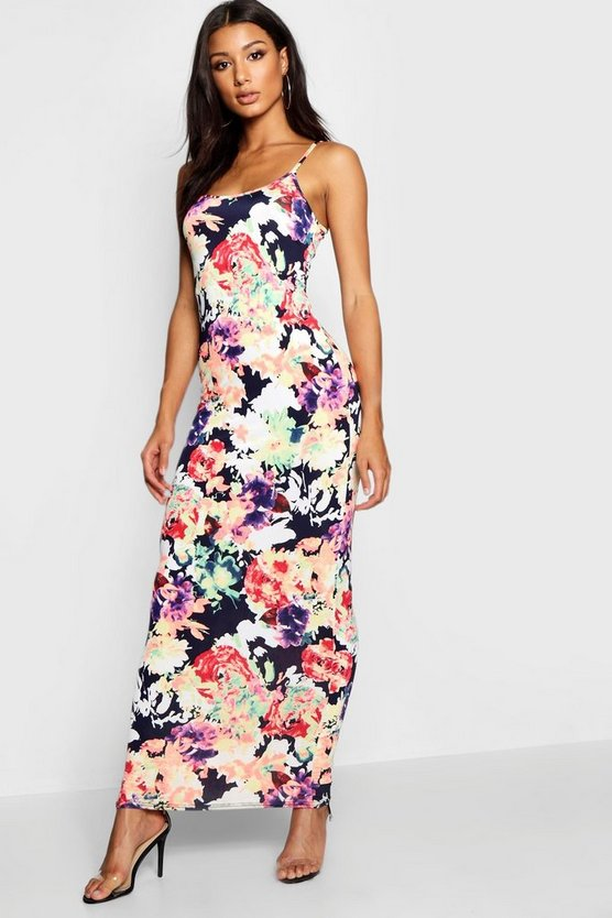 Womens Black Strappy Floral Print Maxi Dress